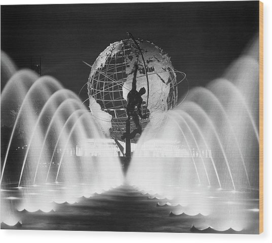 Sculpture, Fountains, And Unisphere At Wood Print by Bettmann