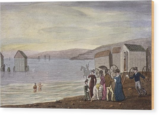 Sea Bathing Wood Print