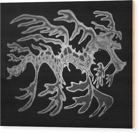 Sea Dragon Black And White Wood Print