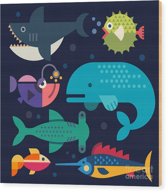 Sea Life. Big Fish Whale, Shark Wood Print