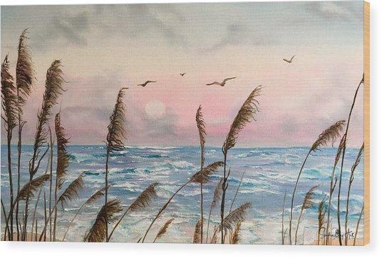 Sea Oats And Seagulls  Wood Print