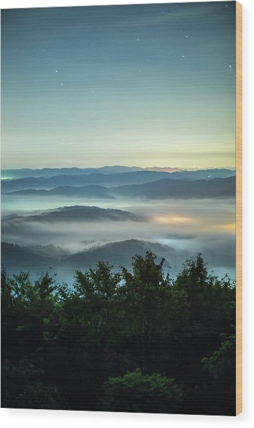 Sea Of Clouds Under Night Sky Filled Wood Print