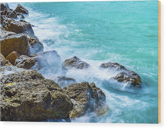 Sea Rocks In Montego Bay Wood Print