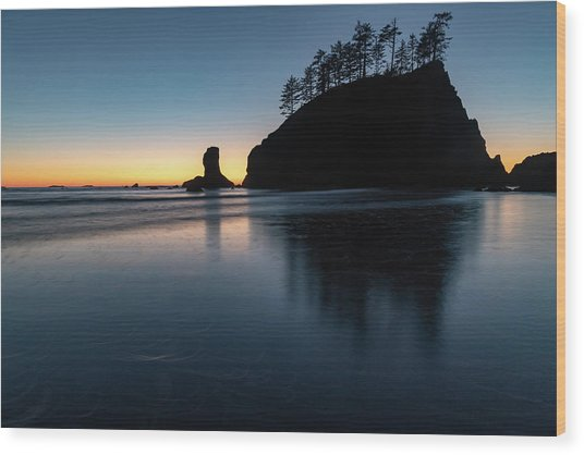Sea Stack Silhouette Wood Print