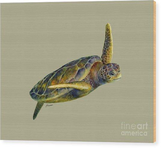 Sea Turtle 2 - Solid Background Wood Print
