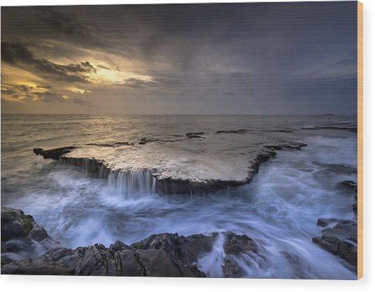 Sea Waterfalls Wood Print