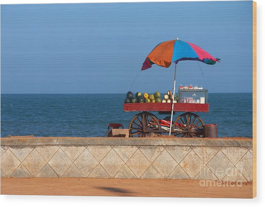 Seafront View Of Vendors Cart With Wood Print