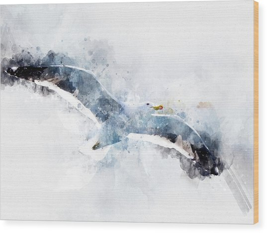 Seagull In Flight With Watercolor Effects Wood Print
