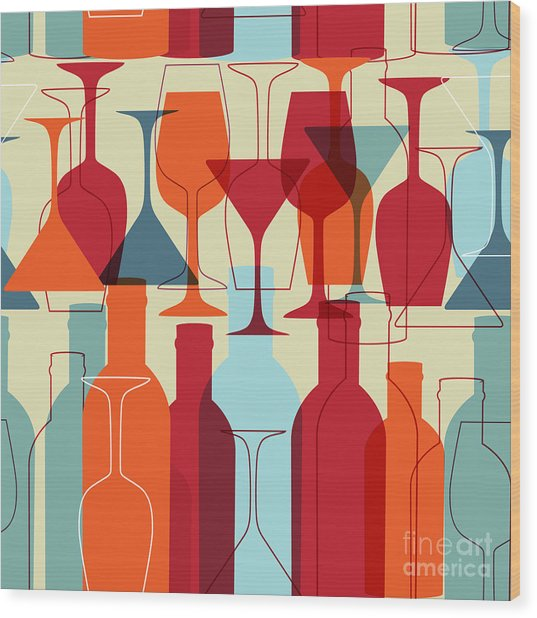 Seamless Background With Wine Bottles Wood Print