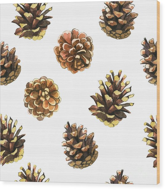 Seamless Floral Pattern On A White With Wood Print