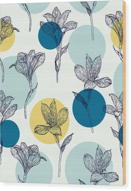 Seamless Floral Pattern. Pattern With Wood Print