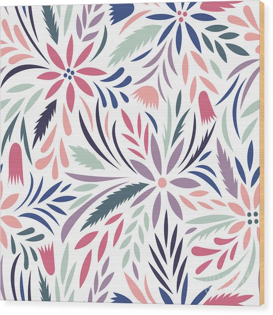 Seamless Floral Pattern. Vector Floral Wood Print