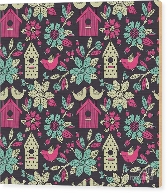 Seamless Floral Pattern With  Birdhouses Wood Print by Tets