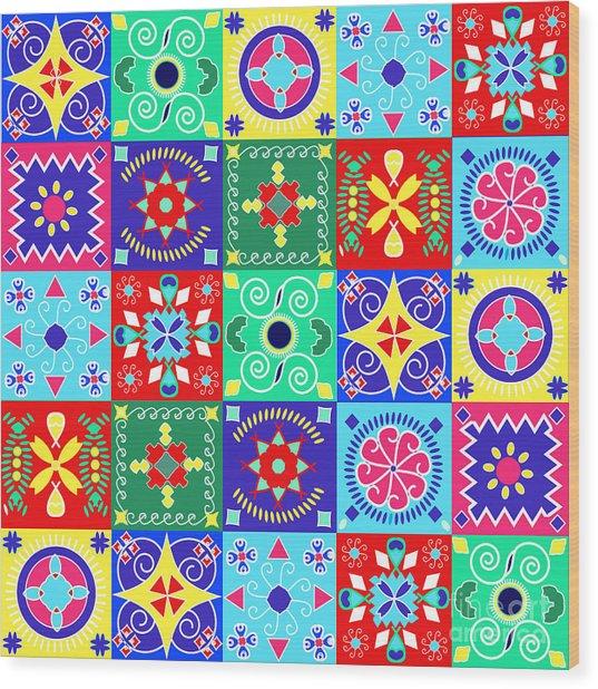Seamless Pattern  Holiday Cheerful Wood Print