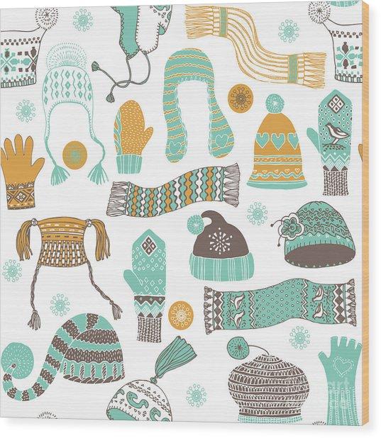 Seamless Pattern Of Winter Woollies Wood Print by Lavandaart