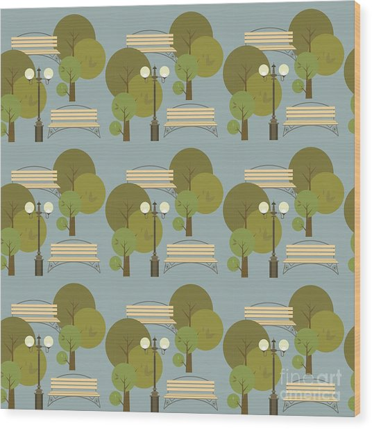 Seamless Pattern On The Theme Parks And Wood Print by Marrishuanna