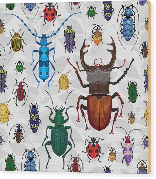 Seamless Pattern With Colorful Bugs Wood Print