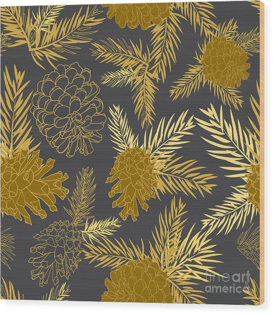 Seamless Pattern With Fir-cone Wood Print