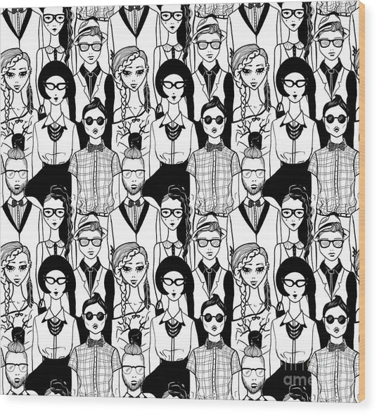 Seamless Pattern With Hipsters. Raster Wood Print