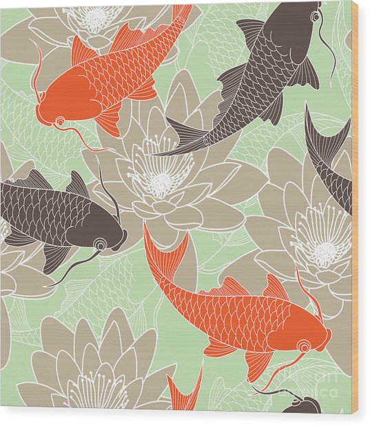 Seamless Pattern With Lotus And Carps Wood Print