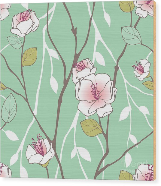 Seamless Pattern With Styled Spring Wood Print