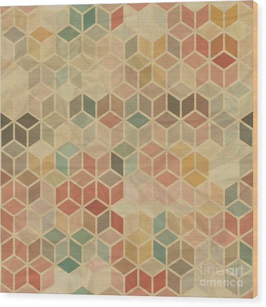 Seamless Retro Geometric Pattern Wood Print