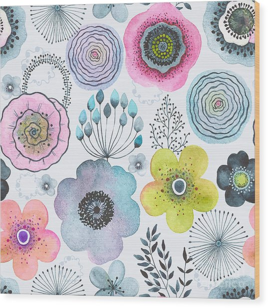 Seamless Watercolor Abstraction Floral Wood Print