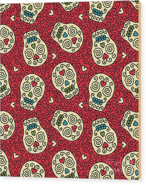 Seamless With Mexican Skulls Wood Print by Rvvlada