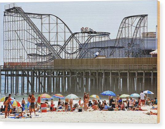 Seaside Heights Star Jet Roller Coaster Color 2006 Wood Print by John Rizzuto