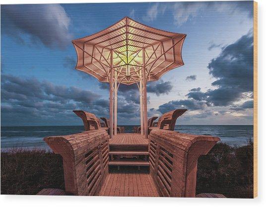 Seaside Pavilion On The Gulf Wood Print