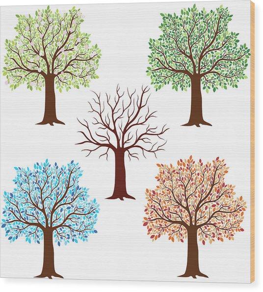 Seasonal Trees Wood Print by Flyinggiraffestudio
