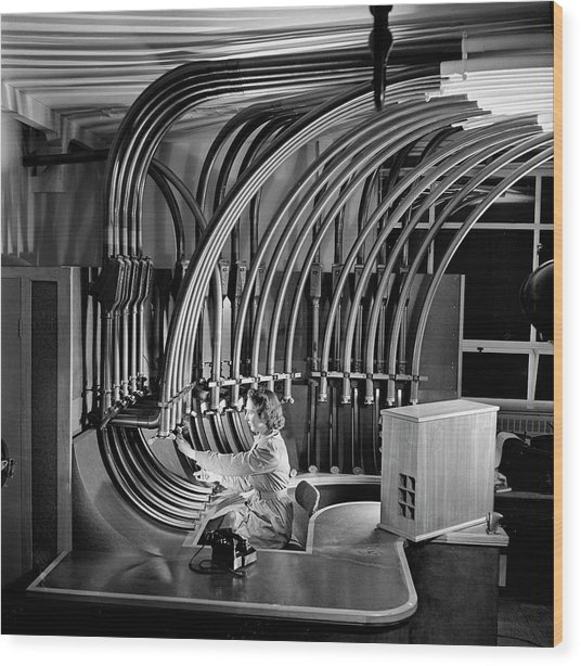 Secretary With Pneumatic Tube Wood Print by Walter Nurnberg