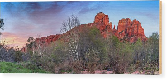 Sedona, Az - Worshiping At Sunset Wood Print