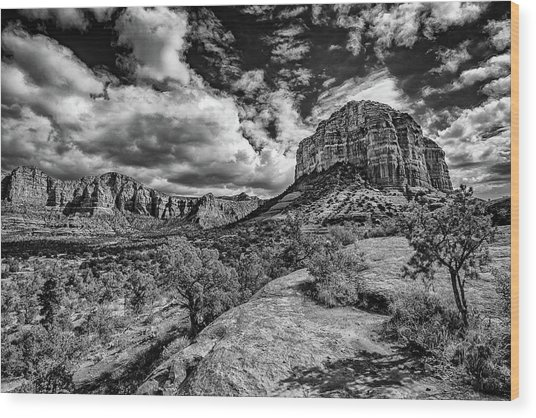 Sedona Landscape B And W Wood Print