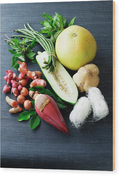 Selection Of Asian Vegetables Wood Print