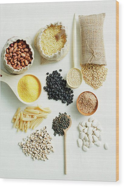 Selection Of Beans And Pulses Wood Print