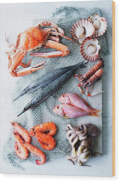 Selection Of Fresh Seafood Wood Print
