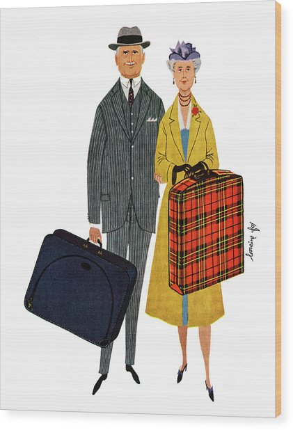 Senior Couple With Suitcases Wood Print