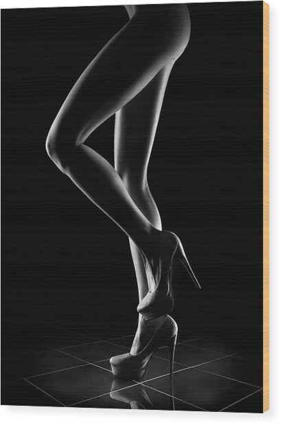 Sensual Woman Outlines 1 Wood Print