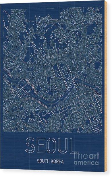 Seoul Blueprint City Map Wood Print