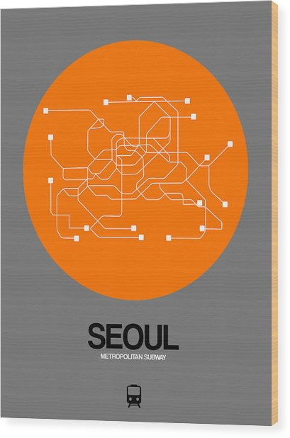 Seoul Orange Subway Map Wood Print