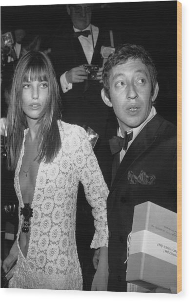 Serge Gainsbourg And Jane Birkin Wood Print