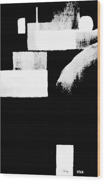 Seriously Black And White Wood Print