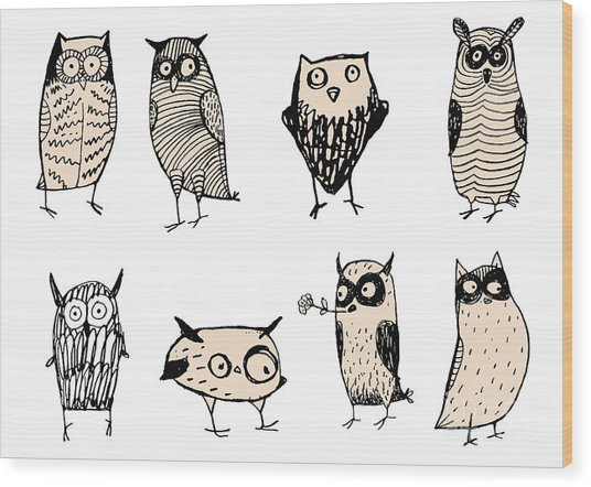 Set Of Cute And Funny Owls. Unusual Wood Print