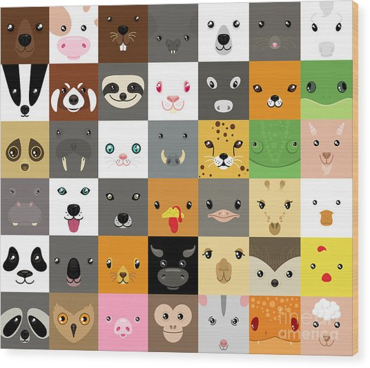Set Of Cute Simple Animal Faces Wood Print by Olesia Misty
