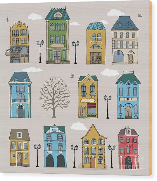 Set Of Old European Houses Isolated On Wood Print