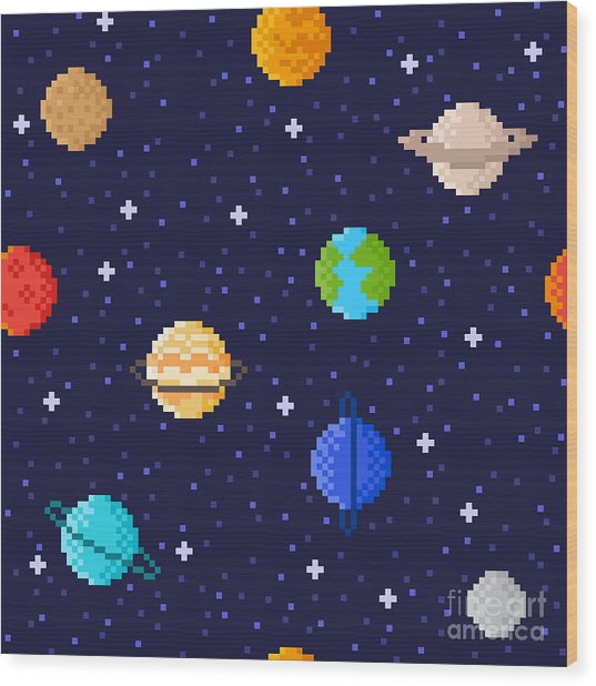 Set Of Solar System Planets Mercury Wood Print