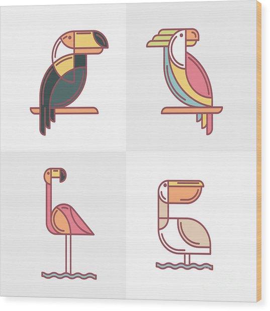 Set Of Vector Exotic Tropical Birds Wood Print