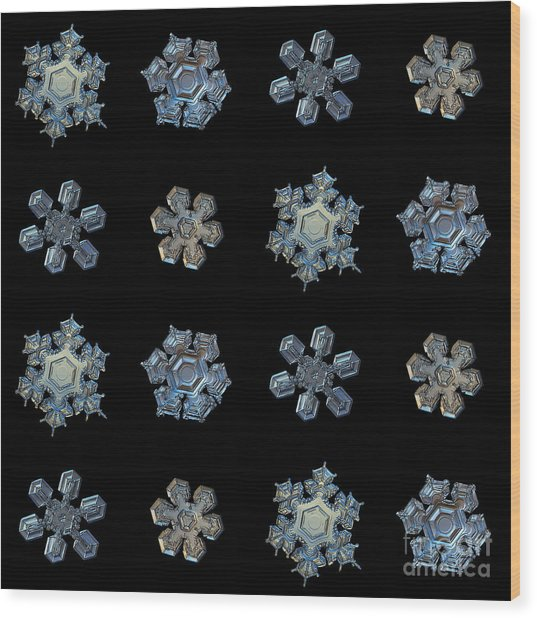 Set With Snowflakes Isolated On Black Wood Print