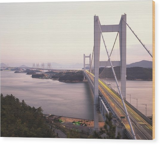 Seto Ohashi Bridge,  Kurashiki Wood Print